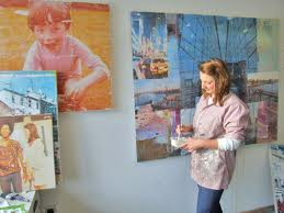 Sarah Grady working in her studio